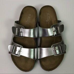 Rogue Silver Slides Sandals Shoes Festival Straps